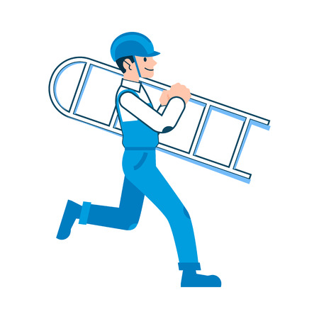 The man or worker in the helmet and overalls carries the ladder, flat cartoon style. Isolated vector illustration on white background. Illustration