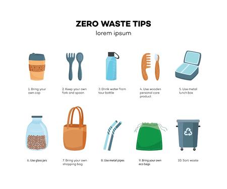 Vektor-Null-Abfall-Tipps-Konzept. Bringen Sie Ihre eigene Tasse, Gabel und Löffel, Öko-Einkaufstasche, Getränk aus Mehrwegflasche, verwenden Sie Körperpflegeprodukte aus Holz, Brotdose aus Metall, Glas, Abfall sortieren.