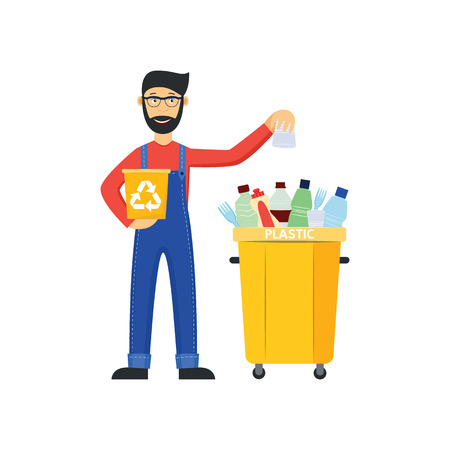 Vector cheerful janitor sorting garbage putting plastic bag to separate bin. Recycling and trash sorting concept. Flat man in uniform worker near trashbin. Isolated illustration