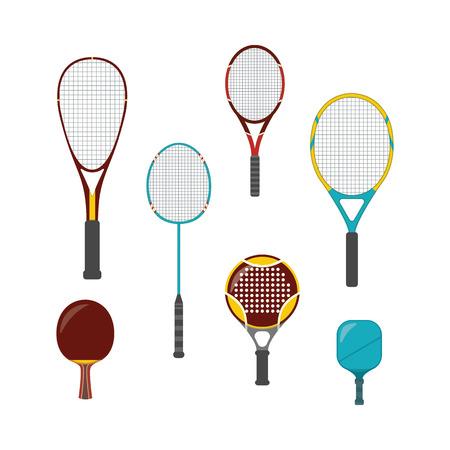 Ensemble d'équipement de jeu de sport - raquettes de badminton, tennis de table et grand tennis, tennis de plage et de plate-forme. Équipement et raquettes pour pickleball, squash, illustration vectorielle isolée dans un style plat. Vecteurs