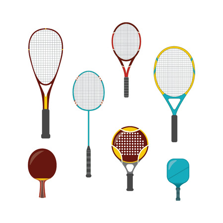 Set of sport game equipment - rackets for badminton, table and big tennis, beach and platform tennis. Equipment and rackets for pickleball, squash, isolated vector illustration in a flat style.