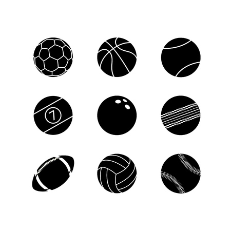 Icon set of sports ball. Sports ball for rugby, soccer, baseball and basketball. Football, cricket, billiards and bowling. Golf, volleyball, and tennis, isolated vector illustration. Illustration