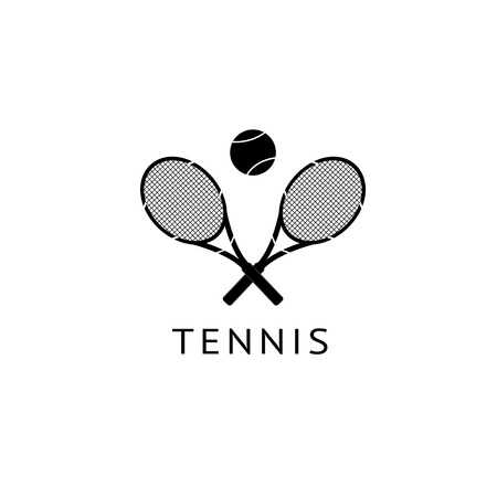 Sports game big tennis logo and icon. Two rackets and a ball, isolated on white background. Vector illustration, black silhouette. Illustration
