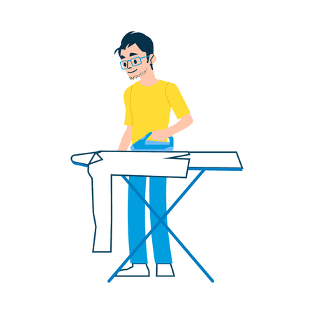 A man wearing glasses, a t shirt and jeans is ironing a shirt, clothes with an iron on an ironing board. Isolated vector illustration on white background, in flat cartoon style. Man is a household. Illusztráció