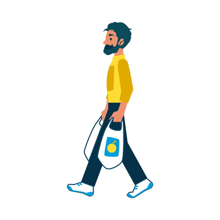 A man with a beard and mustache in a flat cartoon style carries grocery plastic bags, isolated vector illustration on white background.