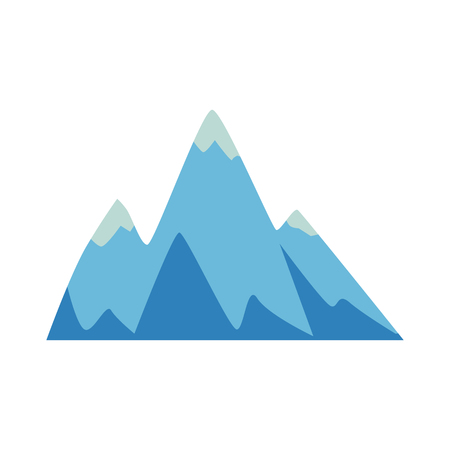 Rock and mountain icon, element with three peaks, vector flat illustration on white background. Rock peaks and hill in flat cartoon style.
