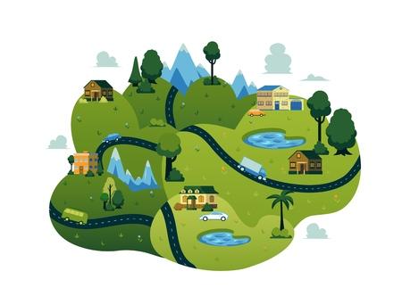 Icône de paysage de paysage rural vectoriel avec chemin routier à travers des champs verts avec des lacs, des maisons de ferme avec des voitures, des arbres forestiers et des montagnes. Élément de construction de conception de carte. Printemps, campagne d'été. Vecteurs