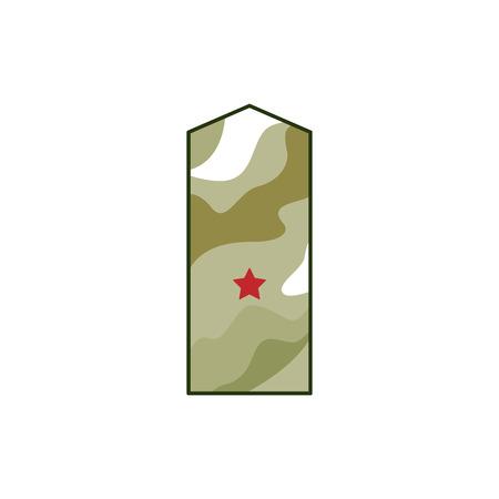 カーキエポレット、赤い星を持つ軍事ランク。装飾軍と軍事概念のための軍事要素、祖国の日のディフェンダー、白い背景に孤立したベクトルのイ
