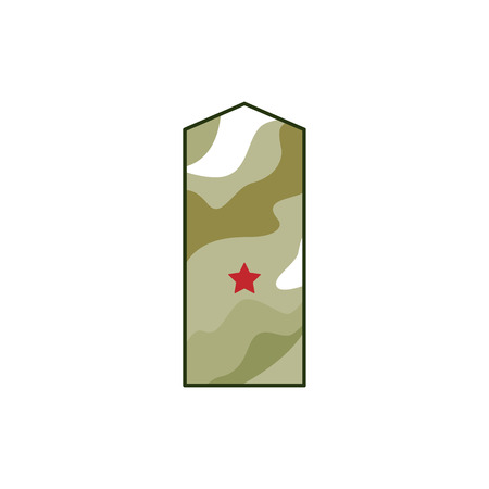 Khaki epaulettes, military rank with red star. Military element for decoration army and military concepts, Defender of Fatherland Day, isolated vector illustration on white background Çizim