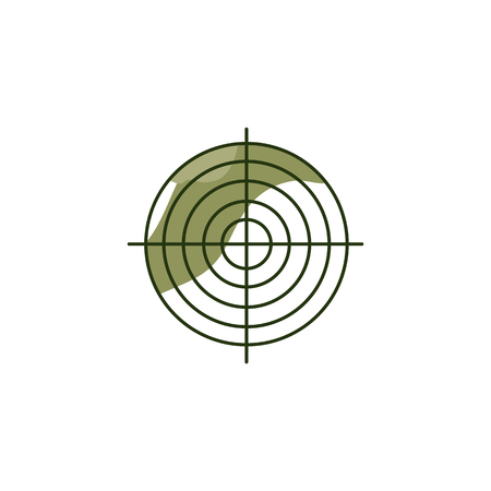 Khaki target, isolated on white background. Military element for decoration army and military concepts, Defender of Fatherland Day. Vector illustration. Çizim