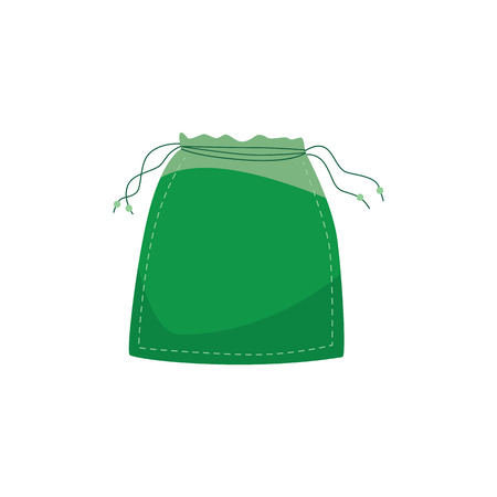 Vector illustration of reusable cotton bag for zero waste and refuse of using plastic concept in flat style. Isolated green textile eco friendly package with rope for products storage.