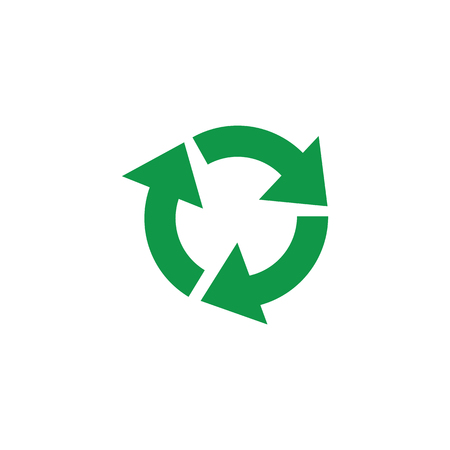 Green recycling sign vector illustration - circle arrows environmental protection symbol. Zero waste pictogram for eco friendly and organic materials packaging isolated on white background. Stock Illustratie