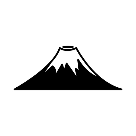 Vector abstract mountain volcano rock black silhouette icon. Natural terrain element for graphic design. Landscape decoration object, symbol of climbing, extreme sports and adventure illustration