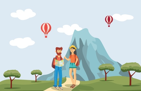 Vector young traveller couple with backpacks standing with map on mountain with hot air balloons background. Bearded man and woman in hat tourists characters concept.