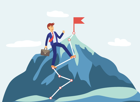 Cartoon businessman climbs a mountain with goal to achieve success and red flag, business vector illustration.
