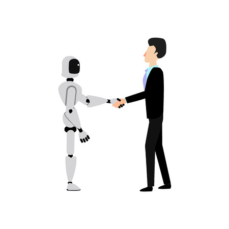 Flat cyborg robot shakes hand to businessman in suit. Successful deal, teamwork within artificial intelligence and human, sign of partnership agreement and futuristic technologies. Vector illustration Иллюстрация