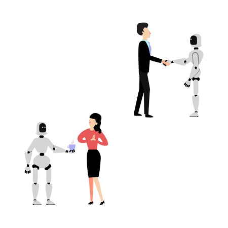 Flat cyborg robot assistant waiter at cafe or restaurant serving young woman with coffee or tea cup., shaking hand to businessman set. Artificial intelligence, futuristic computer technologies. Vector Foto de archivo - 125301726