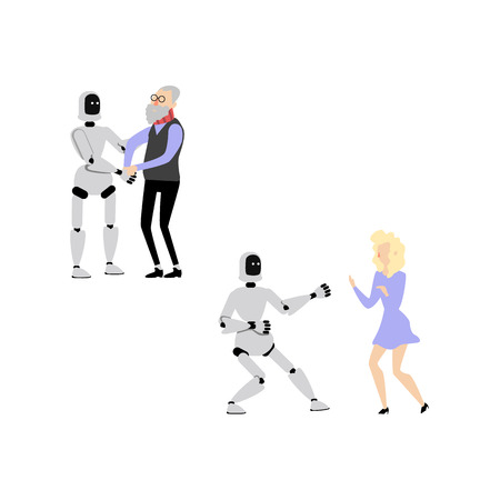 Flat cyborg robot assistant helps elderly senior man to walk, dancing with young woman in purple dress set. futuristic computer technologies at home and at party. Vector illustration Illustration