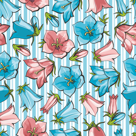 Vector bellflower blossoms seamless pattern background. Natural summer, spring backdrop with campanula meadow plants with blue red petals. Floral natural illustration for poster, textile decoration