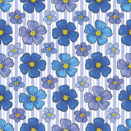 Vector flax linen blossoms seamless pattern background. Natural summer, spring backdrop with campanula meadow plants with blue petals. Floral natural illustration for poster, textile decoration Ilustração