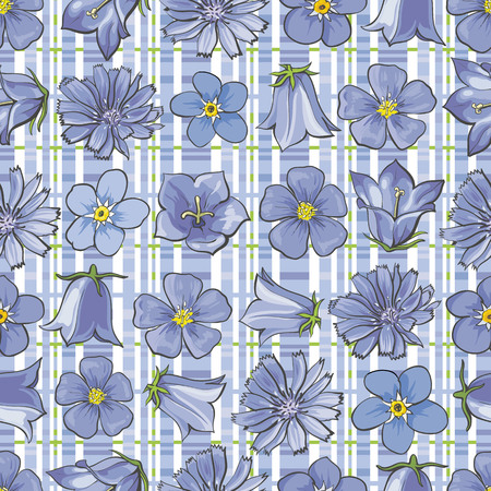 Vector illustration of blue wild flowers on checkered background seamless pattern in sketch style - backdrop with hand drawn blooms on top of cells. Floral texture with meadow plant blossoms.