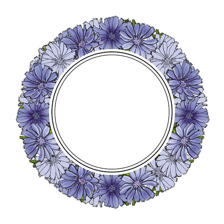 Vector illustration of blue cornflowers in circle shape with empty space for text in sketch style isolated on white background - hand drawn knapweeds with round label as copy space.