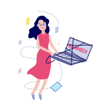 Flat unhappy female office manager, woman in glasses and dress or housewife with sad facial expression near laptop in chains with banned message window. Access prohibition concept. Vector illustration