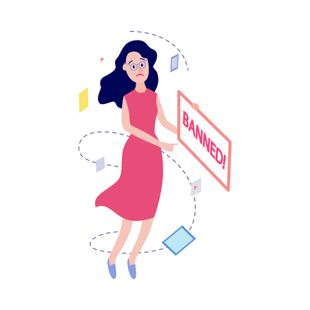 Flat unhappy female office manager, woman in glasses and dress or housewife with sad facial expression pointing to vitrual banned message window. Access prohibition concept. Vector illustration Illustration
