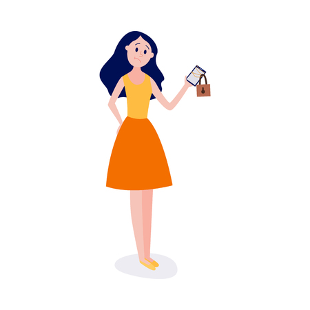 Blocked access to information and internet resources concept -young girl standing and holding chain-bound and locked mobile phone isolated on white background in flat vector illustration.