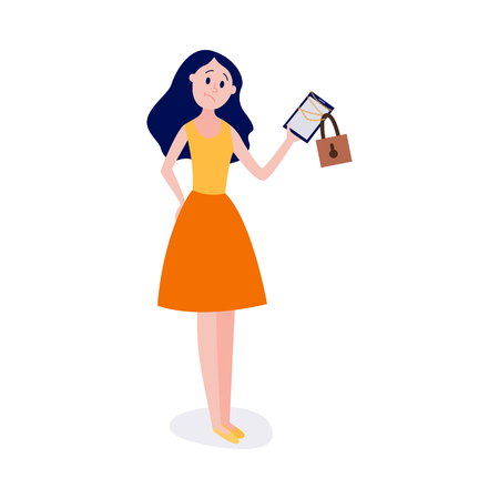 Blocked access to information and internet resources concept in flat vector illustration - young girl standing and holding chain-bound and locked digital tablet isolated on white background. Illustration