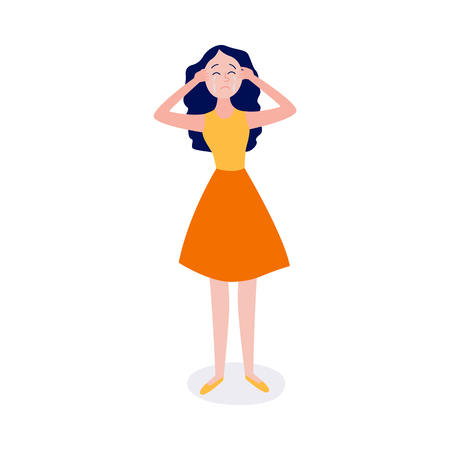 Crying young woman stands and holds her head with hands isolated on white background - frustrated girl with upset emotion and tears on face in flat cartoon vector illustration.