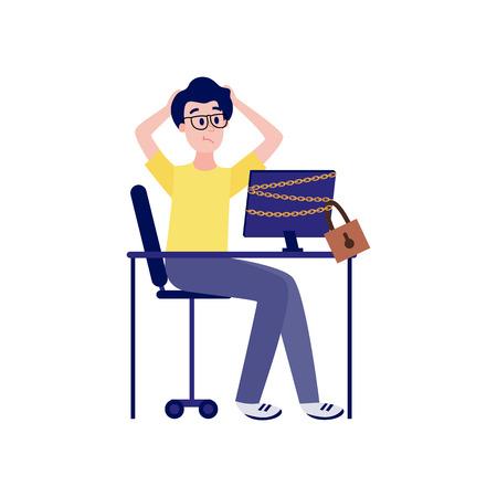 Joven molesto sentado en la mesa con el monitor de la computadora encadenado y bloqueado y sosteniendo su cabeza con las manos - acceso bloqueado al concepto de recursos de Internet en la ilustración de vector plano aislado. Ilustración de vector