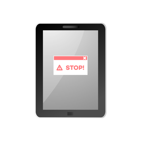 Internet website access forbidden concept with tablet screen with stop message. Web ban symbol. Global communication problems and modern technologies. Vector illustration. Illustration