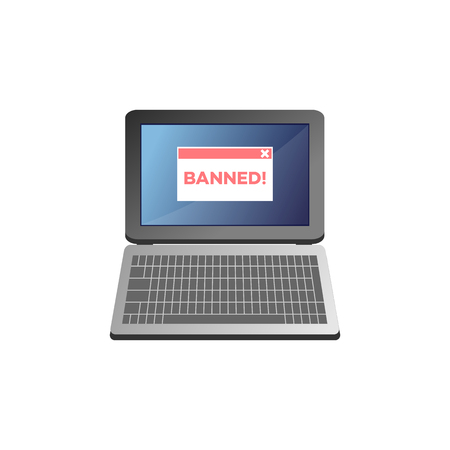 Internet website access prohibition concept with laptop screen with banned message. Web ban, forbidden symbol. Global communication problems and modern technologies. Vector illustration.