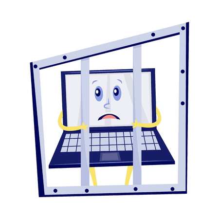 Vector internet website access forbidden concept with shocked laptop character in prison holding jail bars. Web ban symbol. Global communication problems and modern technologies
