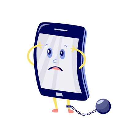 Vector internet website access forbidden concept with shocked tablet character with shackle convict ball with chain holding hand. Web ban symbol. Global communication problems and modern technologies