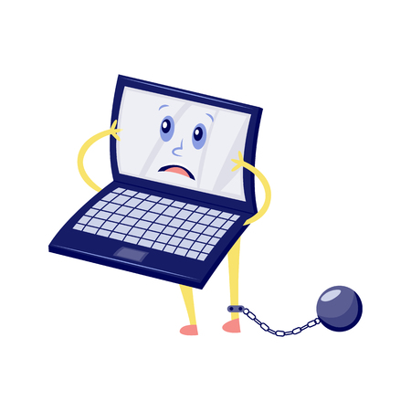 Vector internet website access forbidden concept with shocked laptop character with shackle convict ball with chain holding hand. Web ban symbol. Global communication problems and modern technologies