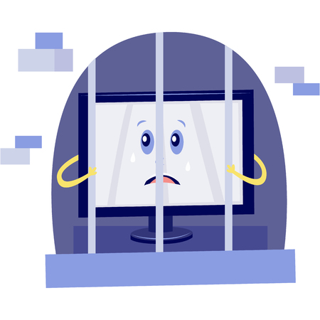 Vector internet website access forbidden concept with shocked desktop monitor character in prison holding jail bars. Web ban symbol. Global communication problems and modern technologies
