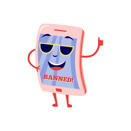 Internet website access forbidden concept with happy tablet character in sunglasses with banned message thumbs up gesture. Web ban symbol. Global communication problems. Vector illustration.