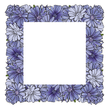 Vector illustration of blue cornflowers in square shape with empty space for text in sketch style isolated on white background. Hand drawn knapweeds with rectangle label as copy space.