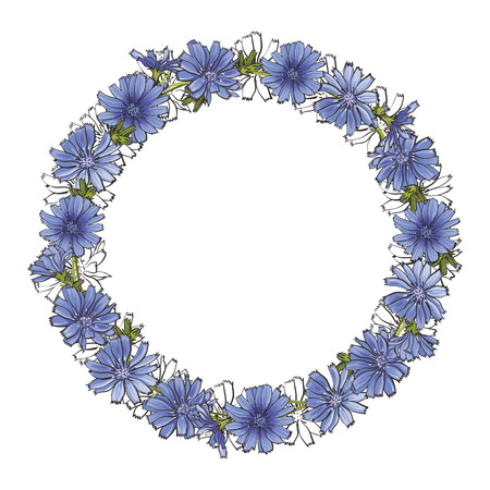Vector cornflower blossoms circle frame. Floral romantic meadow summer, spring sketch illustration for dating, wedding, marriage or romantic event design isolated