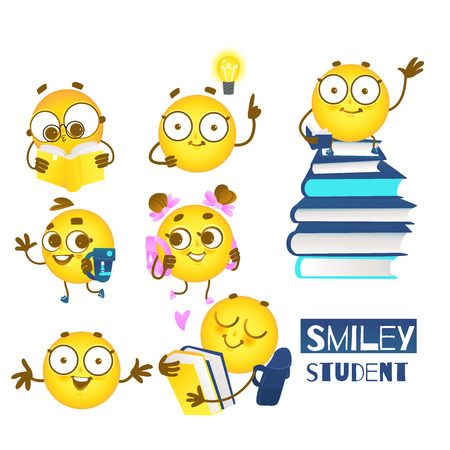 Smiley emoticon student set of cute emoji balls with backpacks and books loving to study isolated on white background for back to school concept in cartoon vector illustration.