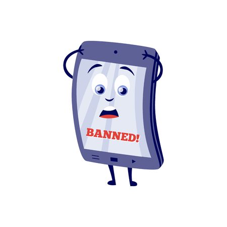 Internet website access forbidden concept with shocked tablet character with banned message holding hand. Web ban symbol. Global communication problems and modern technologies. Vector illustration.