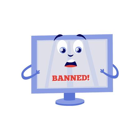 Conmocionado por el personaje de dibujos animados de monitor de computadora de bloque de internet con letrero Prohibido en pantalla aislada sobre fondo blanco. Ilustración de vector plano de bloqueo de acceso al concepto de páginas web.