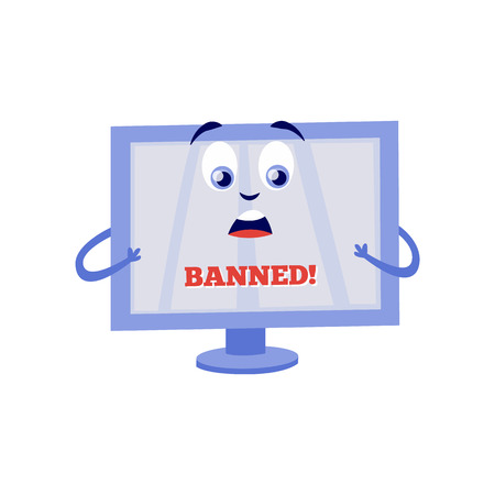 Shocked because of internet block computer monitor cartoon character with sign Banned on screen isolated on white background. Flat vector illustration of lock access to web pages concept.