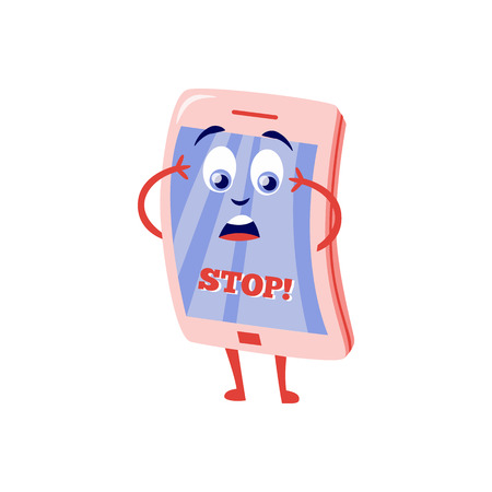 Blocked access to web pages concept with shocked because of internet block mobile phone cartoon character with sign Stop on screen isolated on white background in flat vector illustration.
