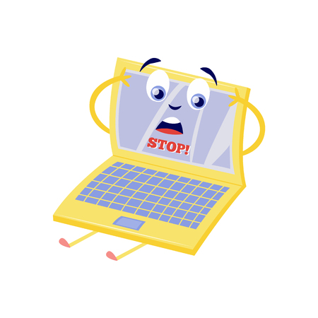 Blocked access to web pages concept with upset because of internet block laptop cartoon character with sign Stop on screen isolated on white background in flat vector illustration.