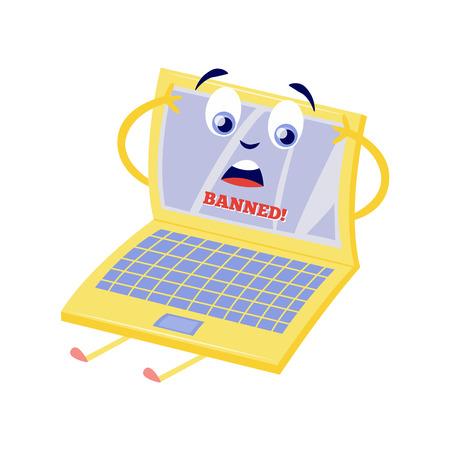 Concepto de bloqueo de Internet con personaje de dibujos animados portátil sorprendido con letrero Prohibido en pantalla y acceso restringido a páginas web y recursos aislados sobre fondo blanco en ilustración vectorial plana.