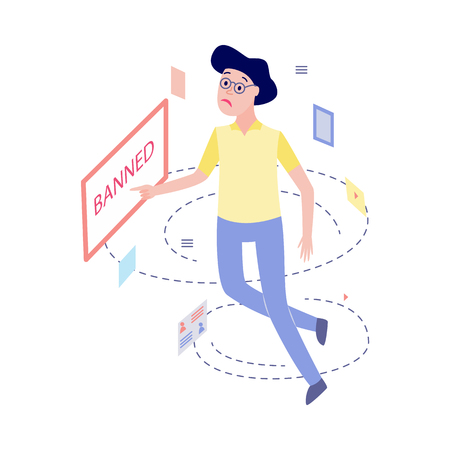Flat unhappy female office manager, woman in glasses or housewife with sad facial expression pointing to vitrual banned message window. Access prohibition concept. Vector illustration