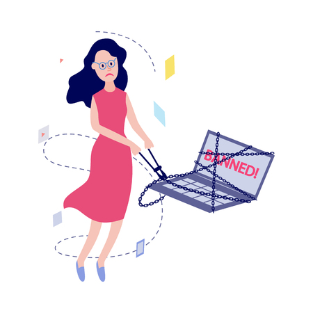 Flat unhappy female office manager, woman in glasses or housewife with sad facial expression breaking laptop chains with banned message window by bolt cutter. Access prohibition concept Vector